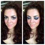 MAC eyeshadows in Felt Blue and Shadow Lady  Laua Mercier Lipstick in '60s Pink