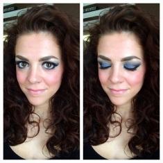 MAC eyeshadows in Felt Blue and Shadow Lady Laua Mercier Lipstick in '60s Pink