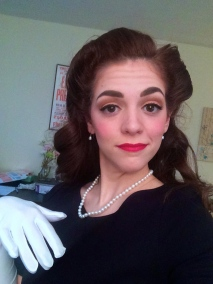 1940's Halloween hair and makeup. Red lip, pearls, and victory rolls