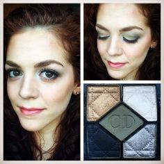 Muted green eyes using Dior's 5-Colour Royal Khaki eyeshadow palette.