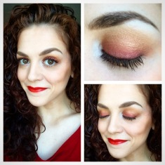 Red-bronze, ombré eyes and warm, red lips. Come on summer! Eye colors from Marc Jacobs Siren Palette. Lips from Bite Beauty Luminous Creme Lipstick in Apricot. Eyebrows from Make Up For Ever Aquabrow in #25 Ash. Blush in Coralista, bronzer in Hoola, and They're Real Mascara from Benefit Cosmetics.