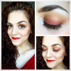 Red-bronze, ombré eyes and warm, red lips. Come on summer! Eye colors from Marc Jacobs Siren Palette. Lips from Bite Beauty Luminous Creme Lipstick in Apricot. Eyebrows from Make Up For Ever ‪‎Aquabrow‬ in #25 Ash. Blush in ‪Coralista‬, bronzer in ‪Hoola‬, and ‪They're Real Mascara‬ from Benefit Cosmetics.