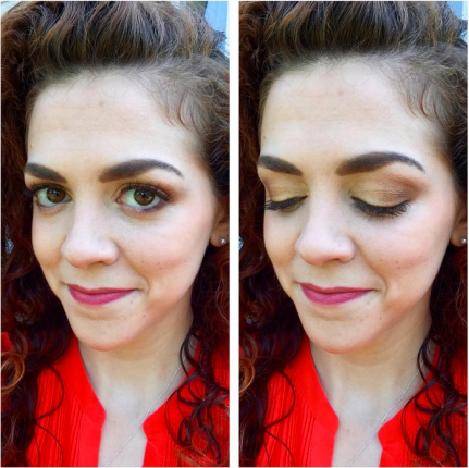 #FOTD Gold-to-bronze ombré eye with a pink lip
