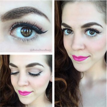 Can't go wrong with a cat-eye flick and a pink lip.