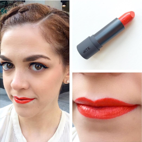 Sporting the latest Limited Lip Lab Release from Bite Beauty in Sweet Mandarin.
